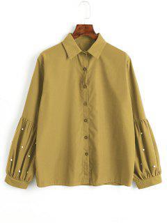 Camisa De Perlas De Imitación Abotonada - Mostaza S
