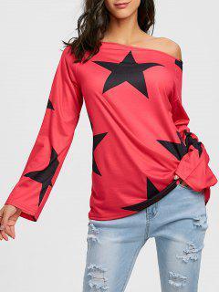 T-shirt Tunique à Manches Raglan Et Imprimé étoiles - Rouge 2xl