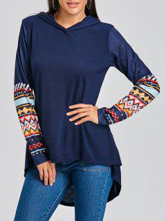 Kapuzen-Tribal Print High Low Tunika T-Shirt - Schwarzblau M