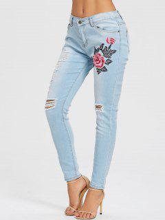 Floral Embroidery Skinny Distressed Jeans - Light Blue S