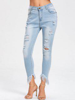 Raw Hem Distressed Skinny Jeans - Light Blue S