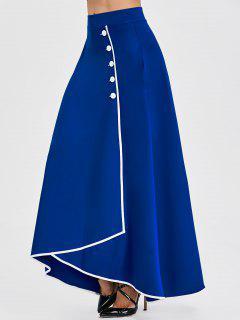 Buttons High Waist Maxi Asymmetric Skirt - Blue 2xl