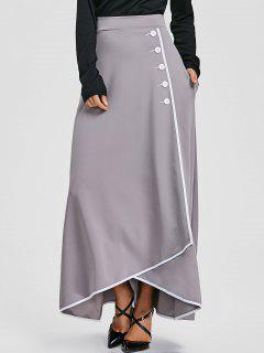 Buttons High Waist Maxi Asymmetric Skirt - Gray S