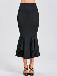 High Waist Mermaid Bodycon Skirt - Black L