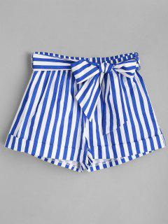Belted Striped Shorts - Blue S