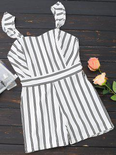 Ruffled Striped Sweetheart Romper - White Xl