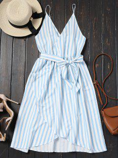 Belted Striped Cami Dress - Charm M