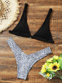 Leopard High Cut Bikini Set - Black S