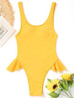 One Piece High Cut Frilled Swimwear - Yellow S