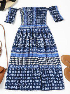 Off Shoulder Smocked Printed Flare Dress - Deep Blue M