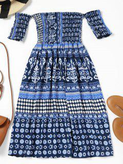 Off Shoulder Smocked Printed Flare Dress - Deep Blue L