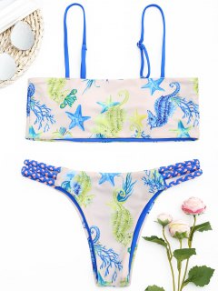 Ensemble De Bikini Imprimé Tressé à L'infauna - Rose Abricot S