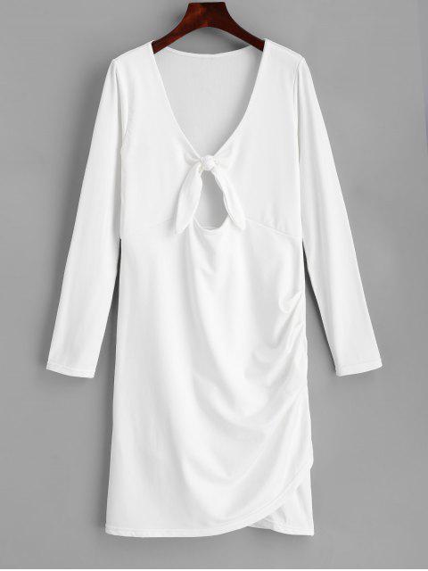 Bow gebundenes ausgeschnittenes, figurbetontes Kleid - Weiß L Mobile