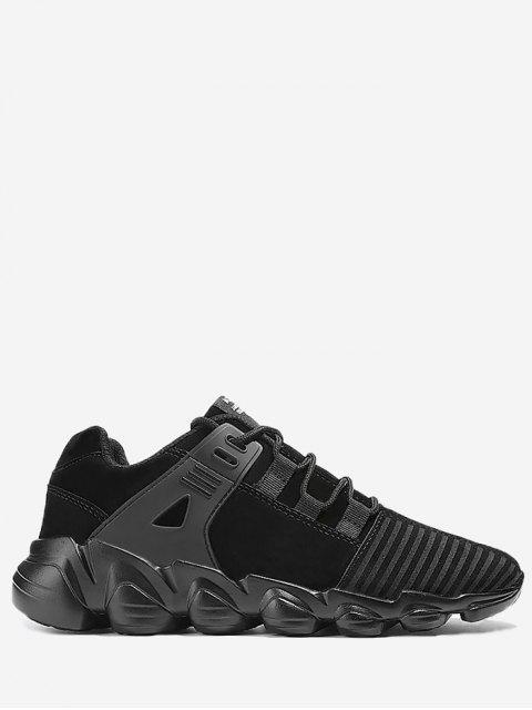 Stitching zapatillas de deporte con cordones a rayas - Negro 45 Mobile