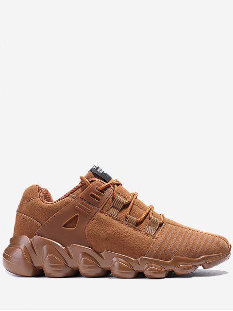 Stitching zapatillas de deporte con cordones a rayas - Marrón 44 Mobile