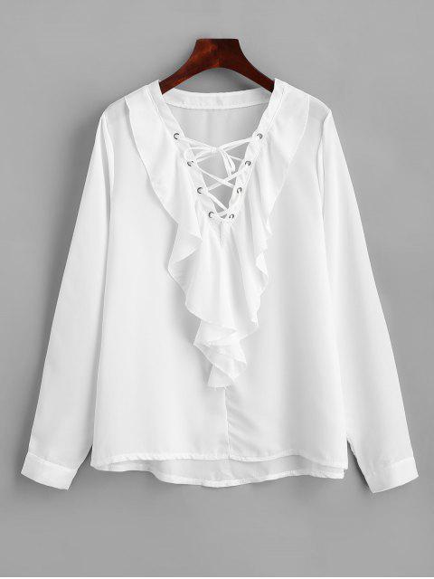 Rüschen Chiffon Spitze Bluse - Weiß M Mobile