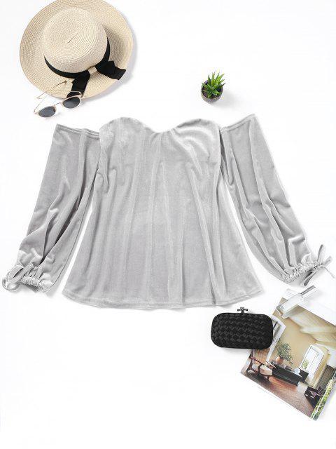 Samt Schulterfreie Bluse - Grau M Mobile