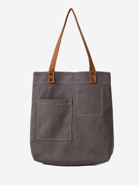 outfits Stitching Geometric Canvas Shoulder Bag -   Mobile
