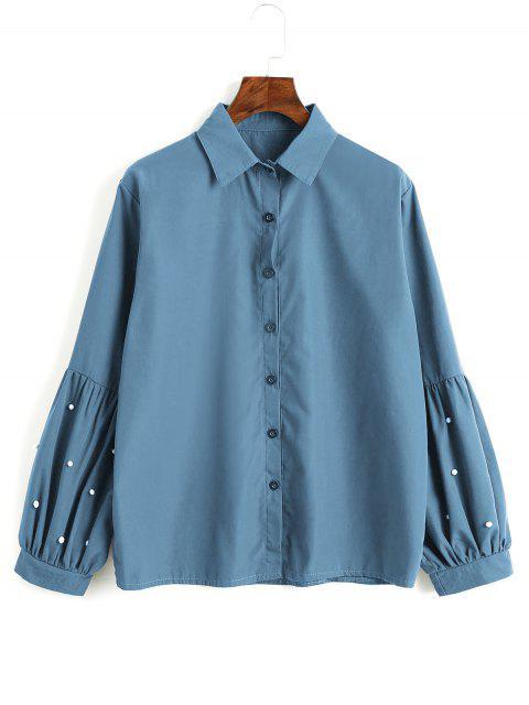 buy Button Down Faux Pearls Shirt - LAKE BLUE L Mobile