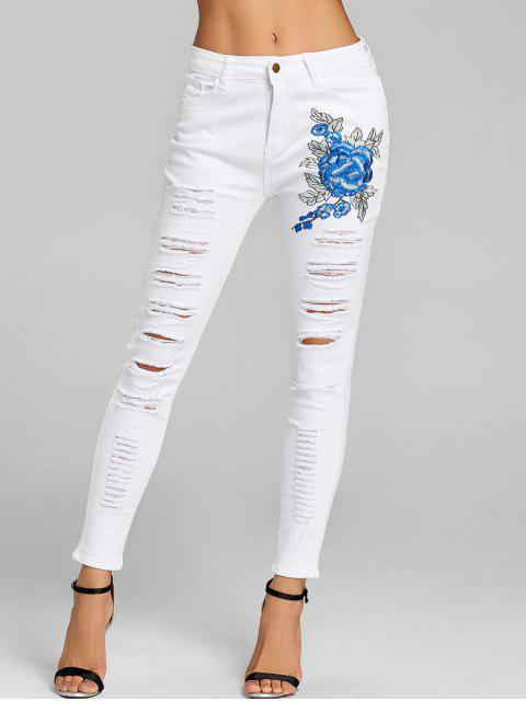 outfit Floral Embroidery Skinny Distressed Jeans - WHITE S Mobile