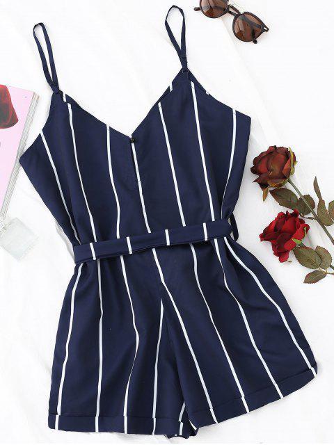 latest Striped Belted Cami Romper - PURPLISH BLUE S Mobile