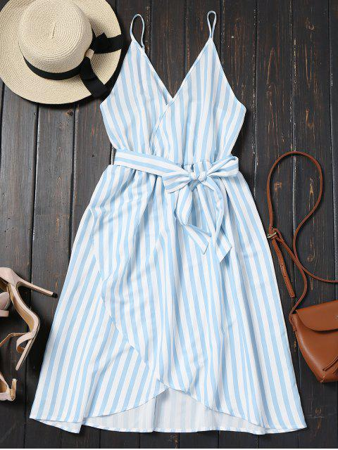 trendy Belted Striped Cami Dress - CHARM L Mobile