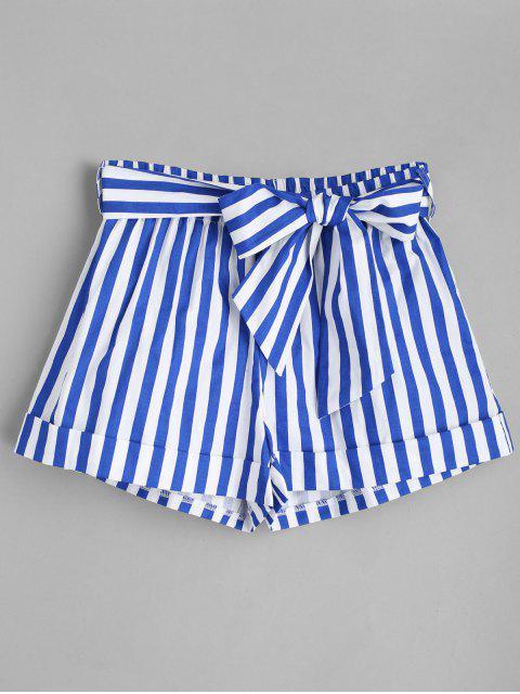 shop Belted Striped Shorts - BLUE L Mobile