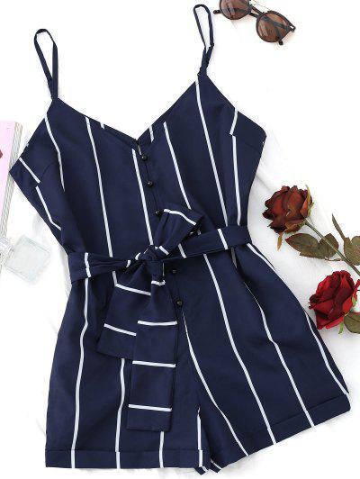 Striped Belted Cami Romper - Purplish Blue M