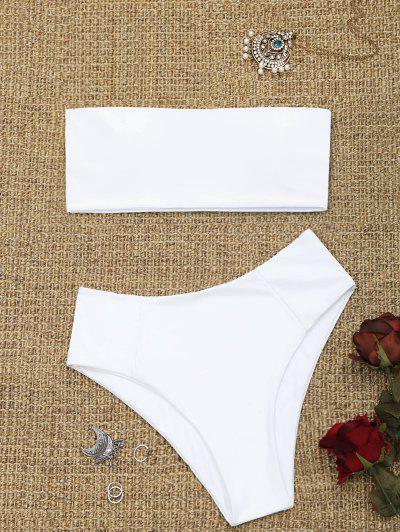 High Cut Bandeau Bathing Suit - White M