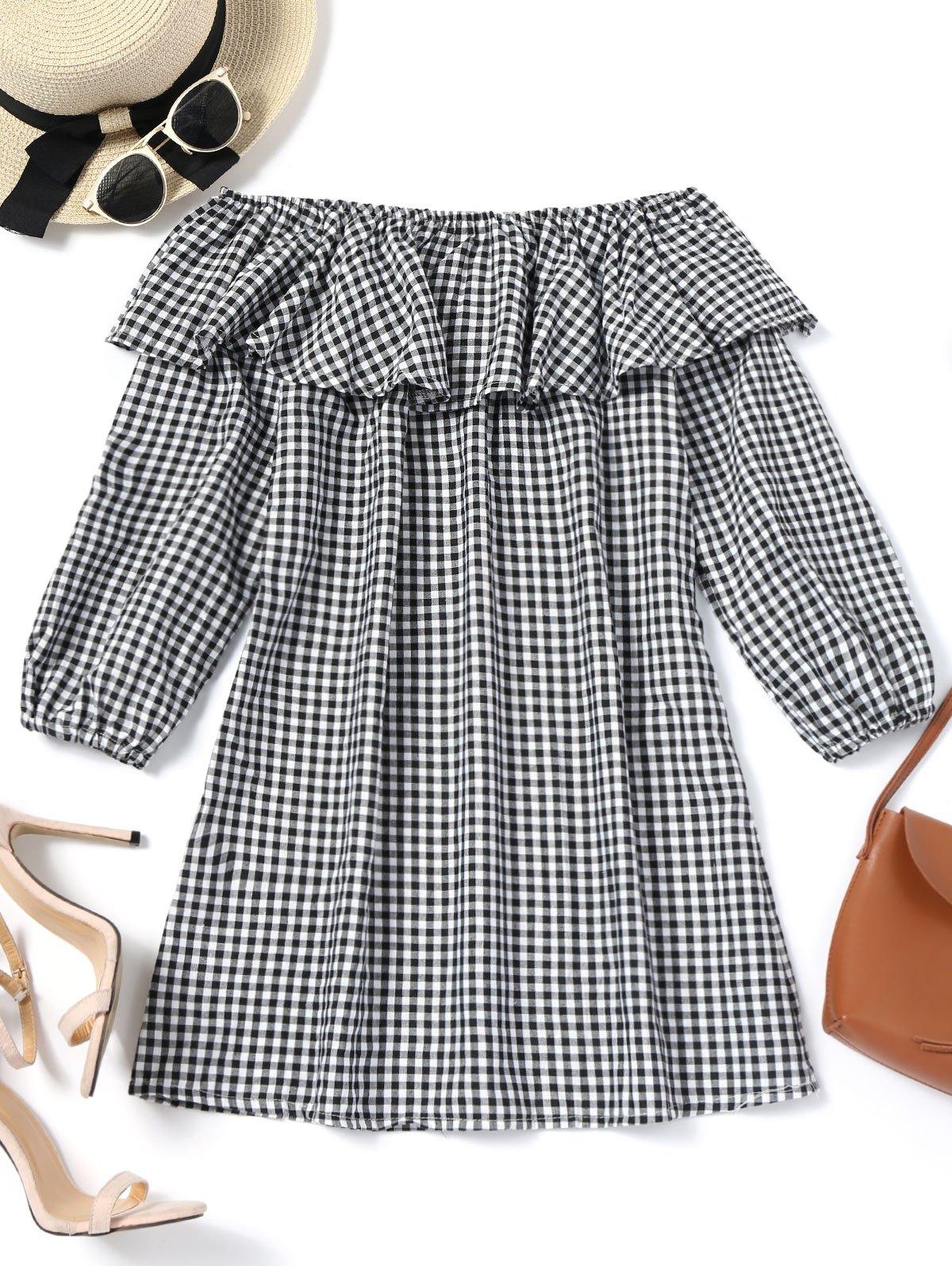 Plaid Ruffles Off Shoulder Mini Dress 241155604