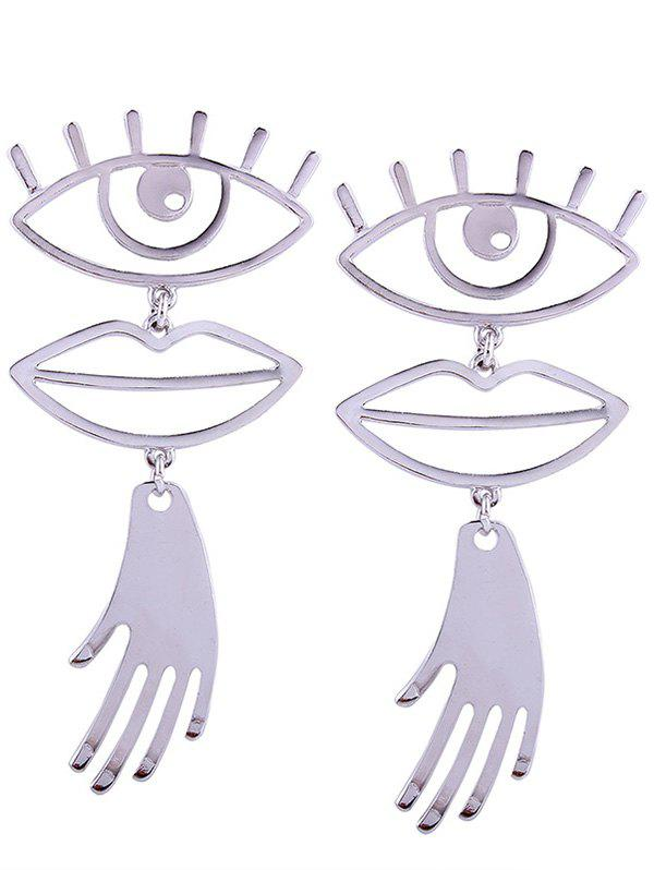 Hollow Out Eye and Lip Decorated Drop Earrings
