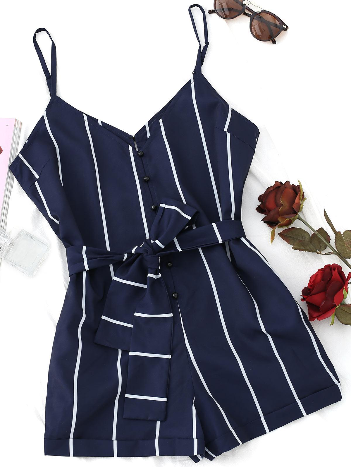 Striped Belted Cami Romper thumbnail