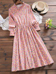 فستان بنصف الزر كشكش الرقبة  - جلد وردي L