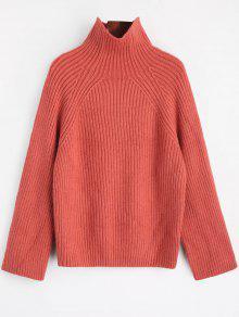 Einfarbiger Pullover Mit Hohem Kragen - Russisch-rot