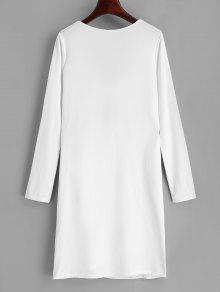 Lazo Lazo Blanco S Ajustado Vestido Con Y UnqxwEfE76