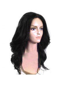 مركز طويل فراق منفوش متموج كابليس شعر مستعار الاصطناعية - أسود
