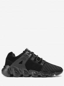 خياطة مخطط الدانتيل يصل أحذية رياضية - أسود 39