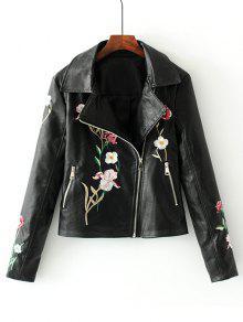 جاكيت الدرجات مطرز بالأزهار بجلد اصطناعي - أسود L