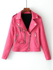 Zip Up Faux Suede Motorcycle Jacket