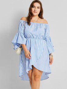 Schulterfrei Asymmetrisch Plus Size Gestreiftes Kleid - Streifen  3xl