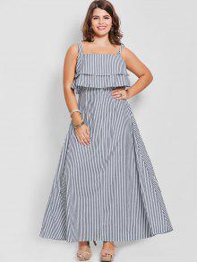 فستان ماكسي مخطط الحجم الكبير  - شريط 3xl