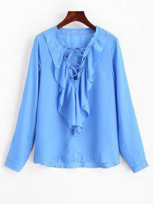 De Blusa Con Azul 243;n Volantes S Chif Con Cordones ww6qnxBEU
