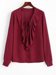 Ruffles Chiffon Lace Up Blouse