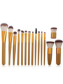 15 قطع لينة جدا الألياف الاصطناعية الشعر ماكياج فرشاة مجموعة - ذهبي