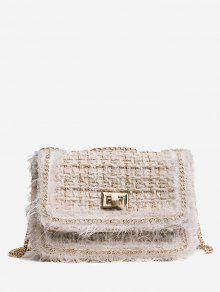 حقيبة كروسبودي مغلقة بمشبك مع سلسلة - اللون البيج