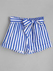 Belted Gestreifte Shorts - Blau S