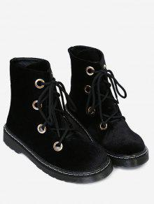 كعب مسطح المخملية أحذية الكاحل - أسود 39