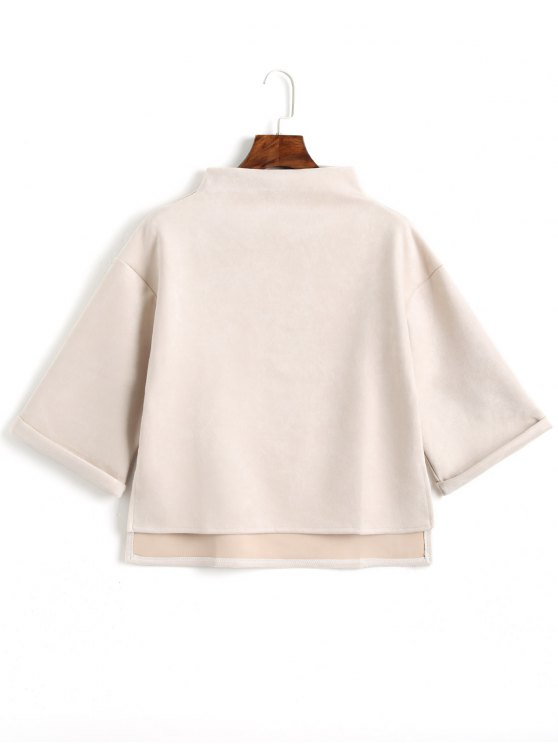 chic High Low Faux Suede Top - OFF-WHITE ONE SIZE