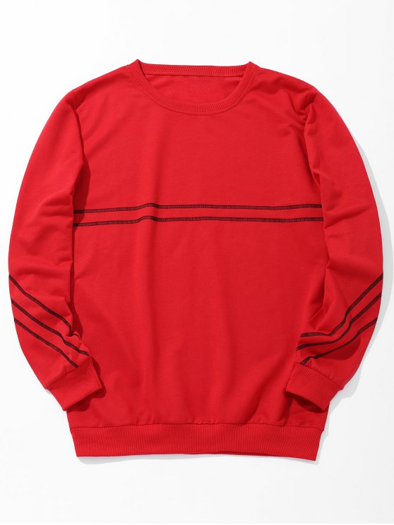 hot Stitching Crew Neck Sweatshirt - RED XL