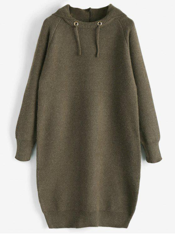 unique Hooded Sweater Dress - OLIVE GREEN ONE SIZE